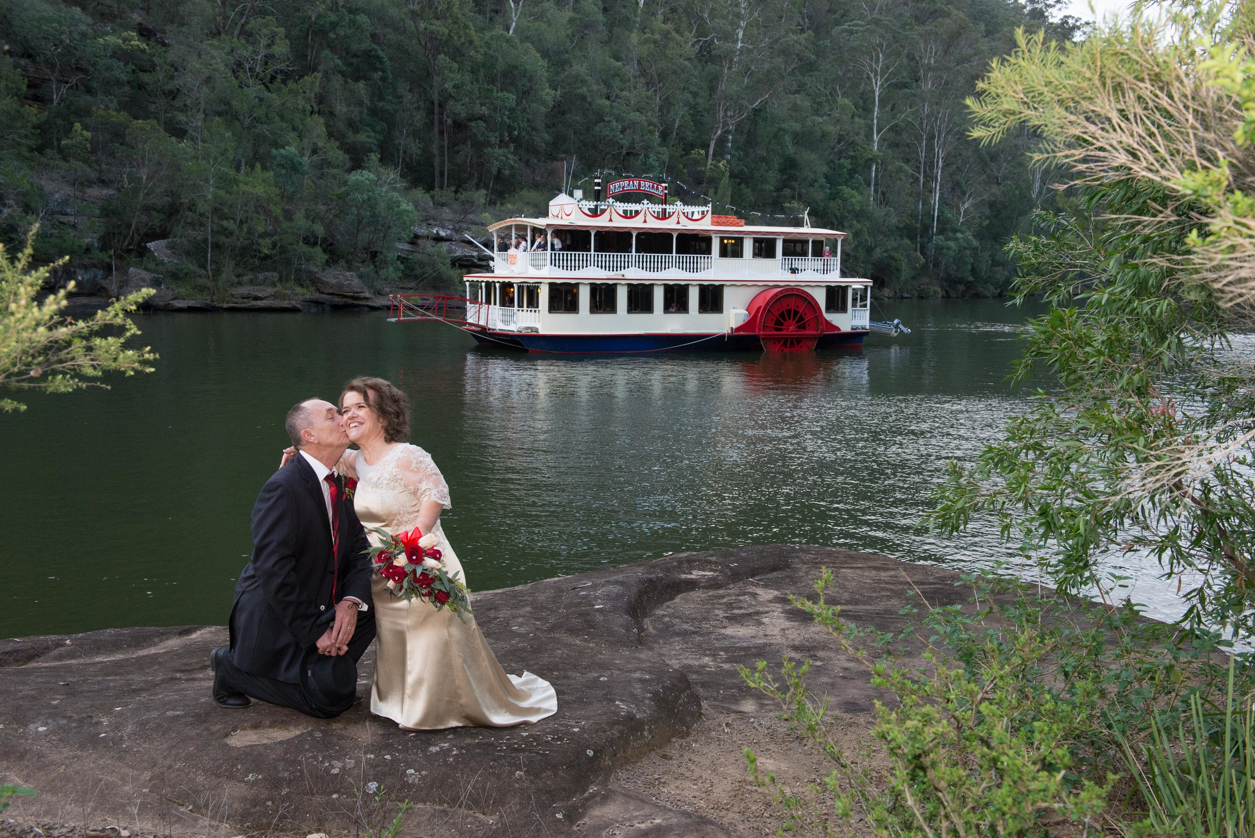 Belle wedding gorge rock offshore bride groom river background.jpg