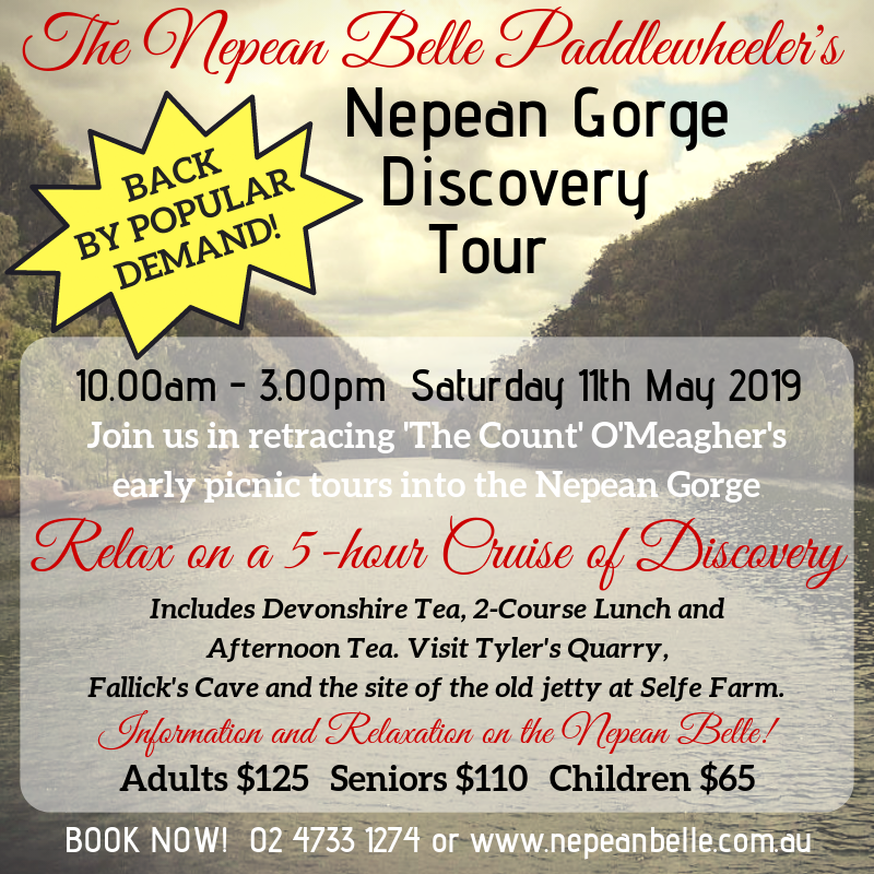 Nepean Gorge Discovery Cruise Nepean Belle History Historical Tour Guided Tour Blue Mountains
