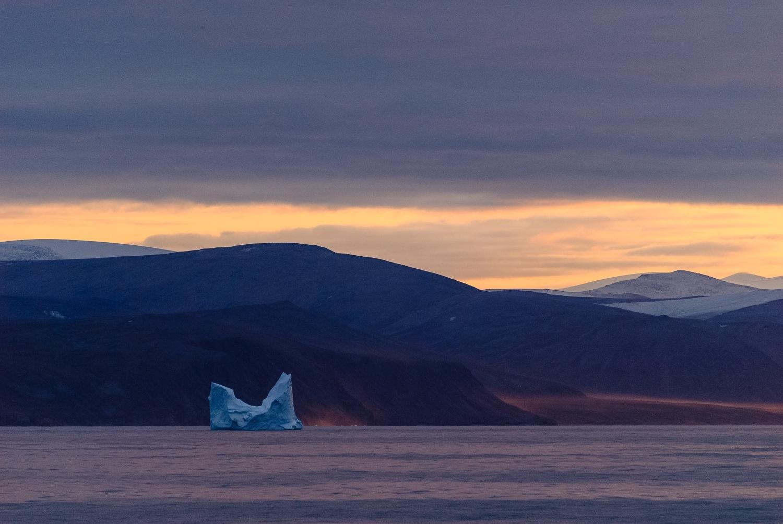 Pinnacled Iceberg at Midnight