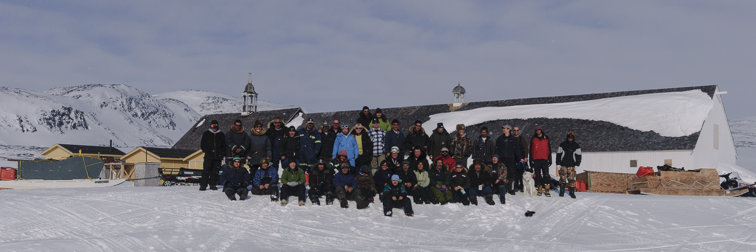 Stephen Gorman (third from left, front row) and the Inuit hunters from Kangiqsualujjuaq, Nunavik, and Nain, Nunatsiavut, at the annual winter rendezvous at the historic Hebron Moravian Mission, Nunatsiavut (click to enlarge).