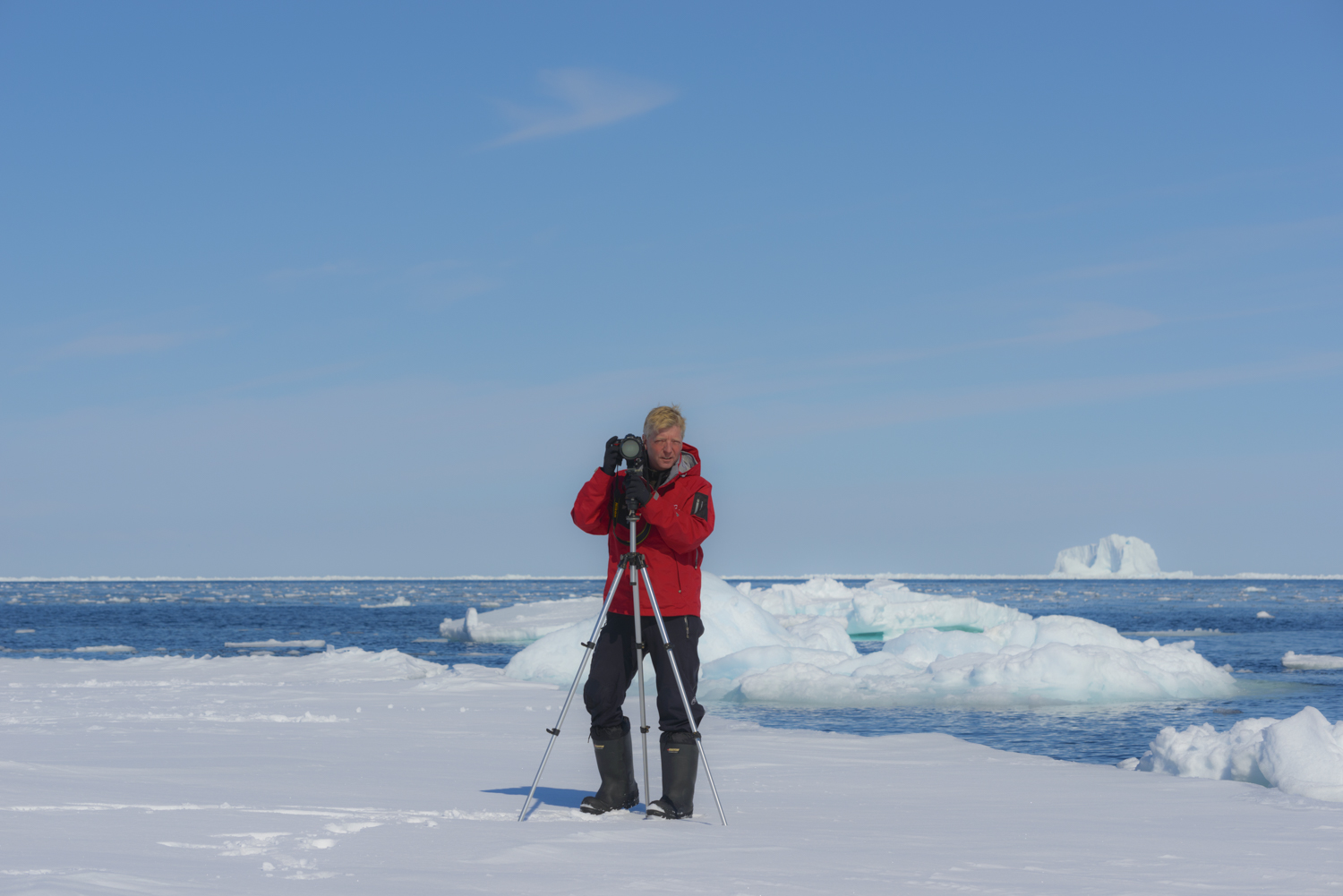 Stephen Gorman on Expedition at the Bylot Island Floe Edge 450 Miles Above the Arctic Circle (click to enlarge).