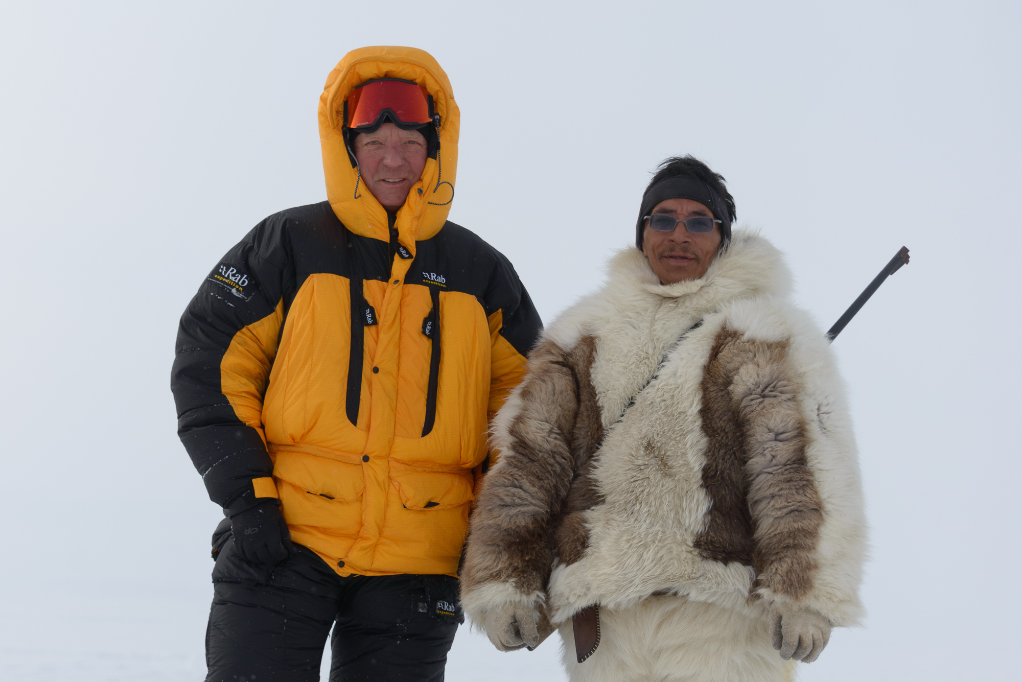 Steve and Tomas on Expedition on the Sea Ice of Inglefield Fjord, Thule, Greenland (click to enlarge).