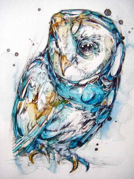 Sea Glass Owl  © Abby Diamond  finchfight.tumblr.com