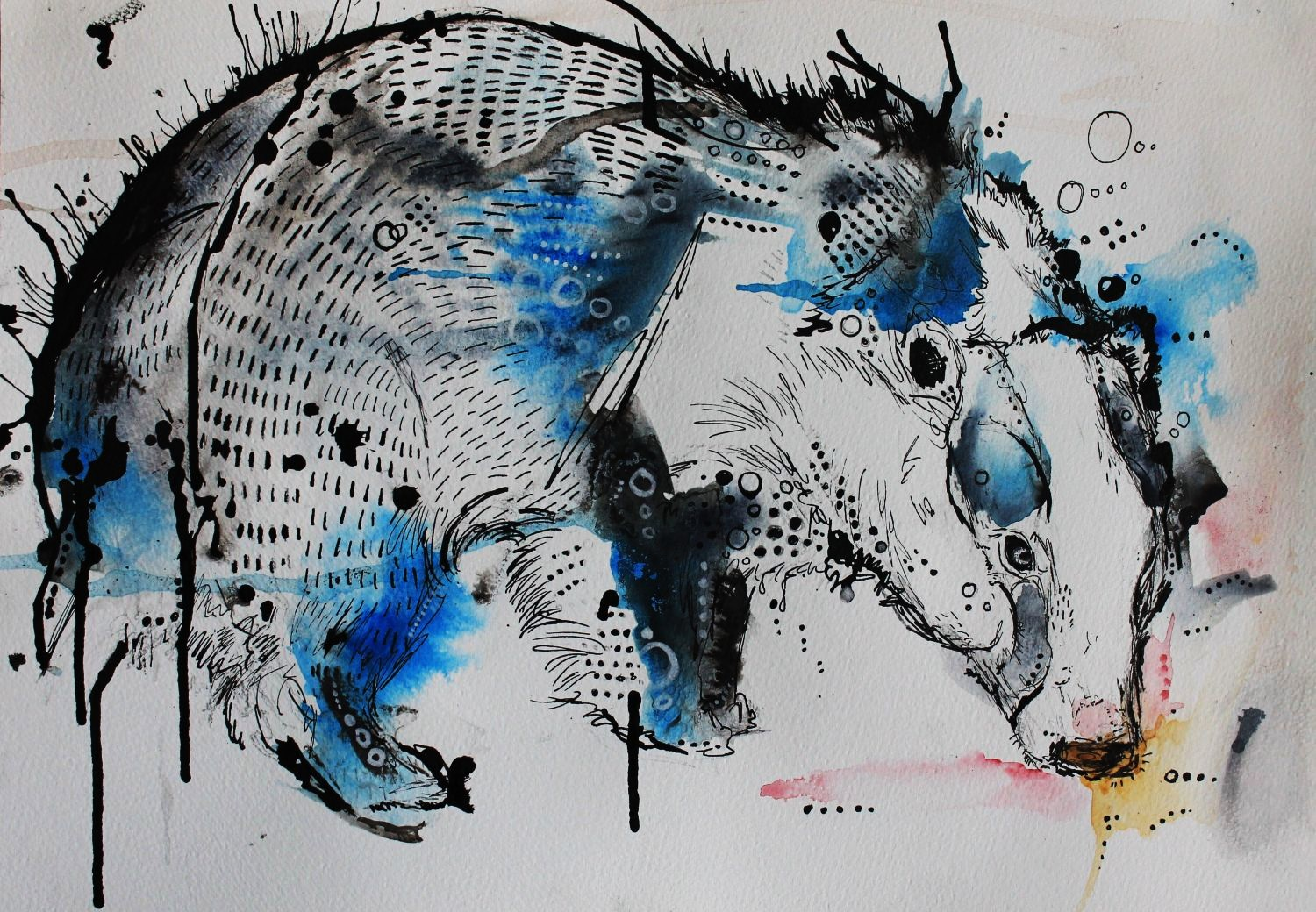 2013's Blue Badger attempt using watercolour and Indian Ink only.