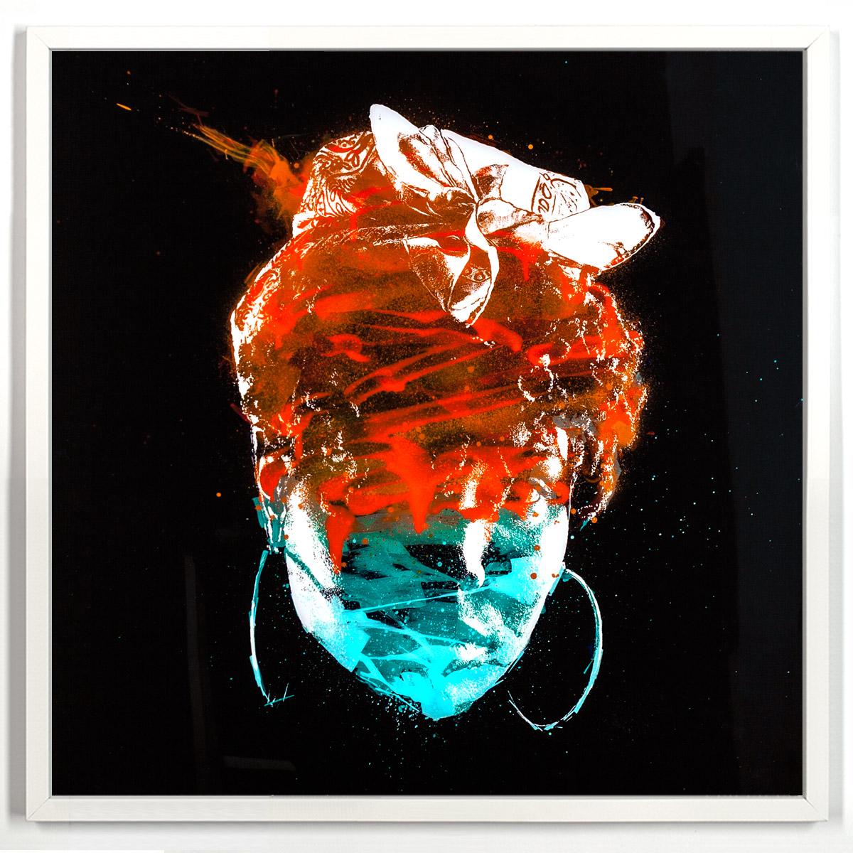 "Yolanda Entropy α  Enamel, Acrylic and Spray Paint on Plexiglass 52"" x 52"" $1,800 Includes a 1"" 1/2 White Wood Frame"