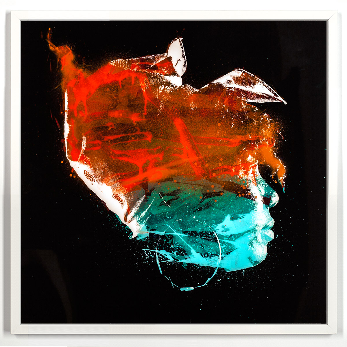 "Yolanda Entropy β  Enamel, Acrylic and Spray Paint on Plexiglass 52"" x 52"" $1,800 Includes a 1"" 1/2 White Wood Frame"