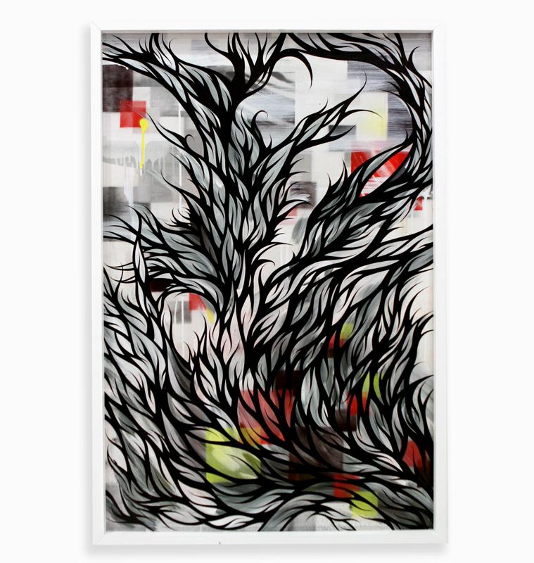 "Reverse Firework  Spray Paint & Acrylic on Cradled Wood Panel 25"" x 37"" $700"