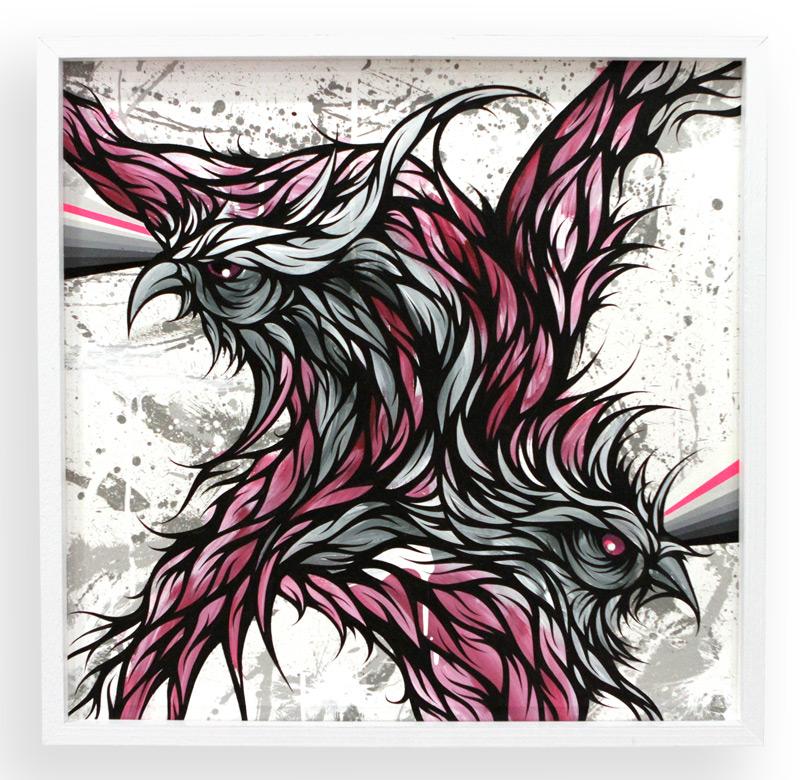 "Satellite Signal  Spray Paint & Acrylic on Cradled Wood Panel 25"" x 25"" $450"