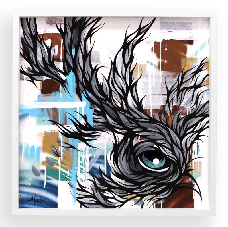 "Natural Lightning  Spray Paint & Acrylic on Cradled Wood Panel 25"" x 25"" $450"