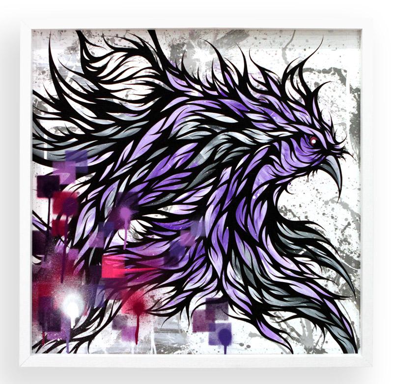 "The Messenger  Spray Paint & Acrylic on Cradled Wood Panel 25"" x 25"" $450"