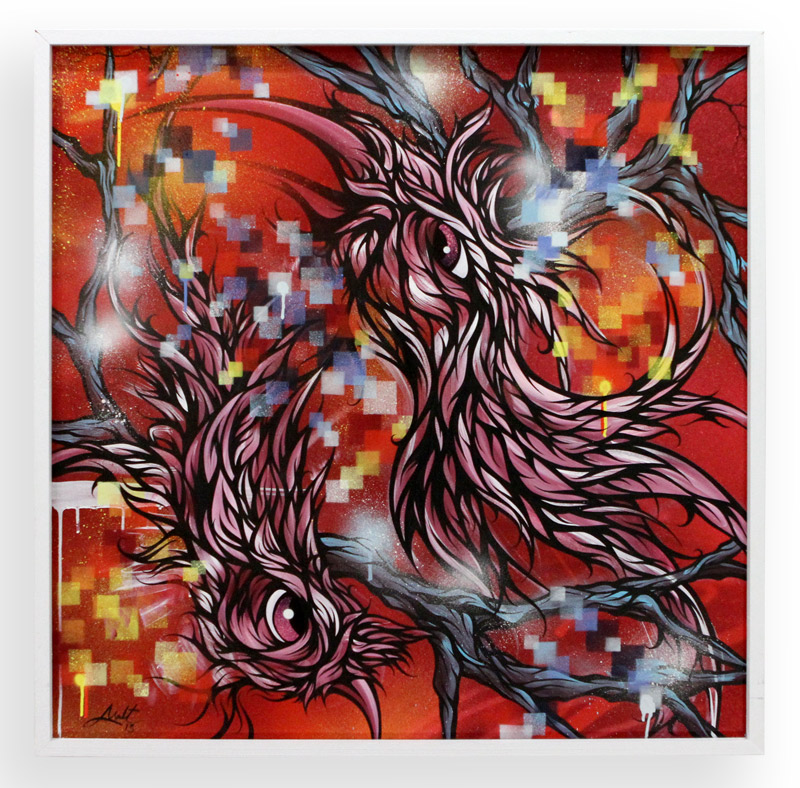 """Fire and Ice  Spray Paint & Acrylic on Cradled Wood Panel 37"""" x 37"""" $1200"""