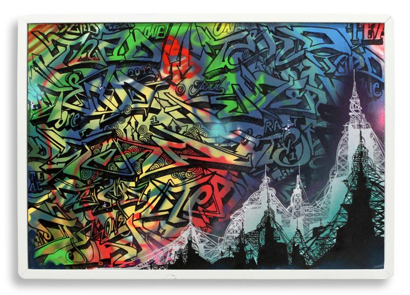 "Warm December  Spray Paint, Acrylic & Sharpie on Cradled Wood Panel 30"" x 21"" $700  SOLD"