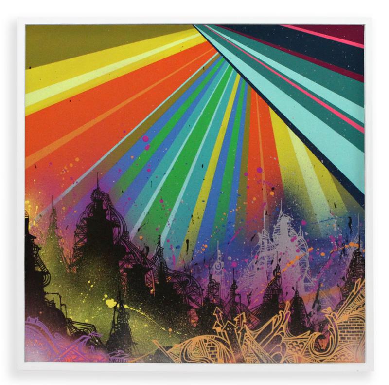 "Acid City Vol. 2: Pure Bliss II  Spray Paint & Acrylic on Cradled Wood Panel 25"" x 25"" $500  SOLD"