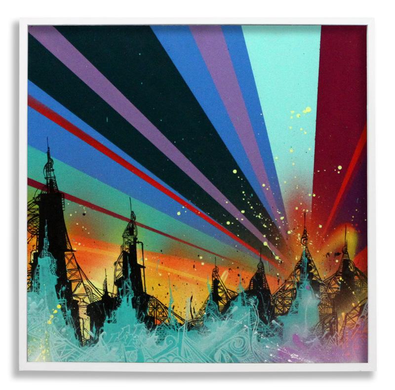 "Acid City Vol. 2: Pure Bliss III  Spray Paint & Acrylic on Cradled Wood Panel 25"" x 25"" $500  SOLD"