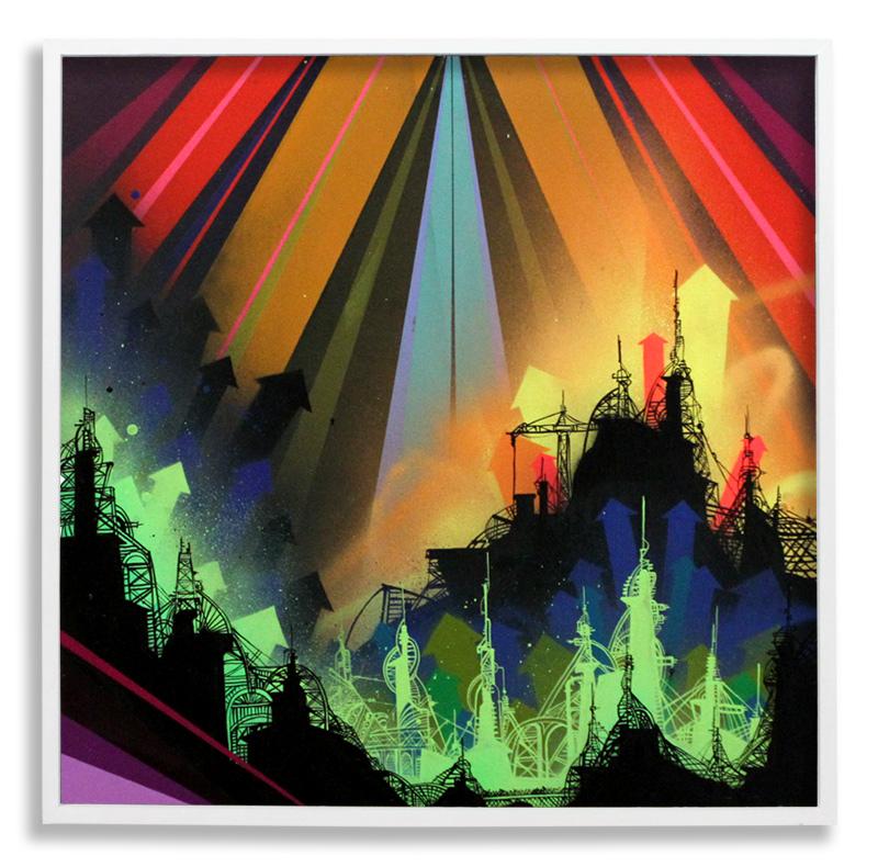 "Acid City Vol. 2: Pure Bliss IV  Spray Paint & Acrylic on Cradled Wood Panel 25"" x 25"" $500  SOLD"