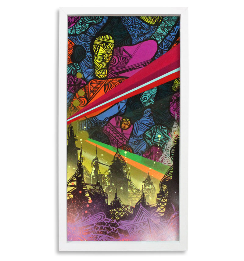 "Devil Between Us  Spray Paint & Acrylic on Cradled Wood Panel 13"" x 25"" $300"