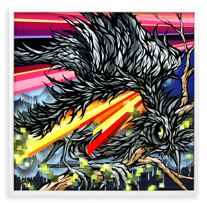 "Major Laser  Spray Paint & Acrylic on Cradled Wood Panel 37"" x 37"" $1200"