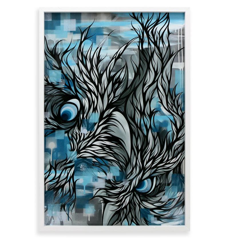 "Blood Bros  Spray Paint & Acrylic on Cradled Wood Panel 25"" x 37"" $700"