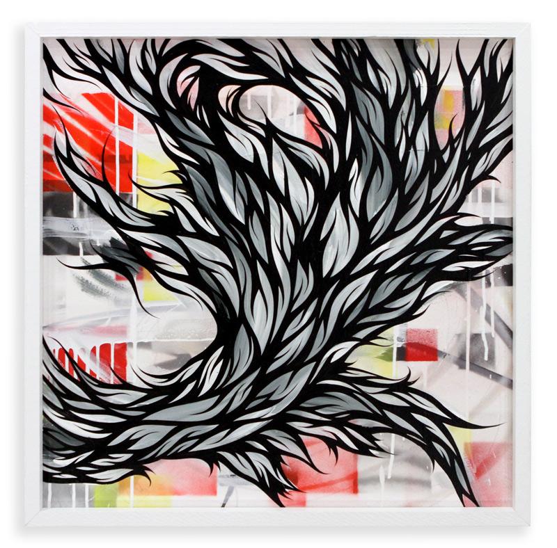 "Paths We Pave  Spray Paint & Acrylic on Cradled Wood Panel 25"" x 25"" $450"