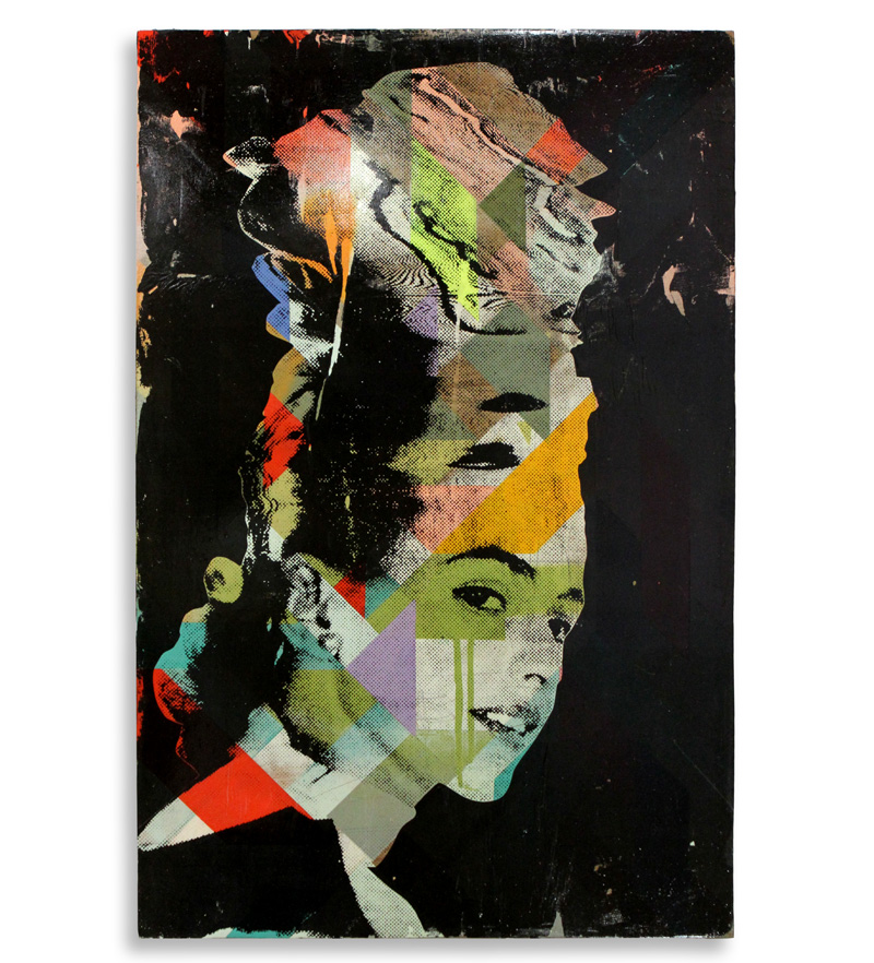"""Thinking About Thinking  Mixed Media on Found Wood 19"""" x 28"""" $300  SOLD"""