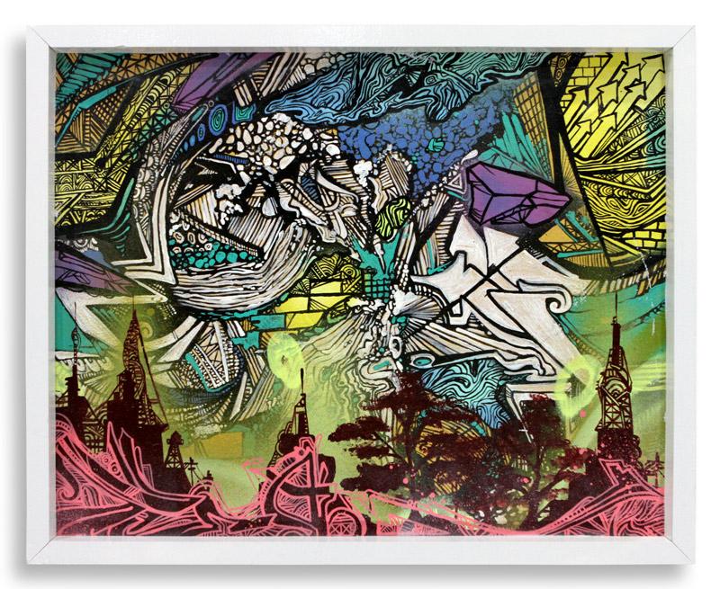"Thunderfuct  Spray Paint & Acrylic on Cradled Wood Panel 17"" x 21"" $400"