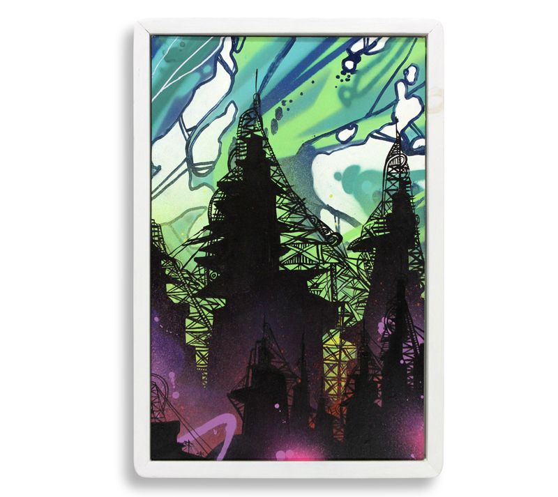 "Lost Soul  Spray Paint & Acrylic on Cradled Wood Panel 14"" x 21"" $300"