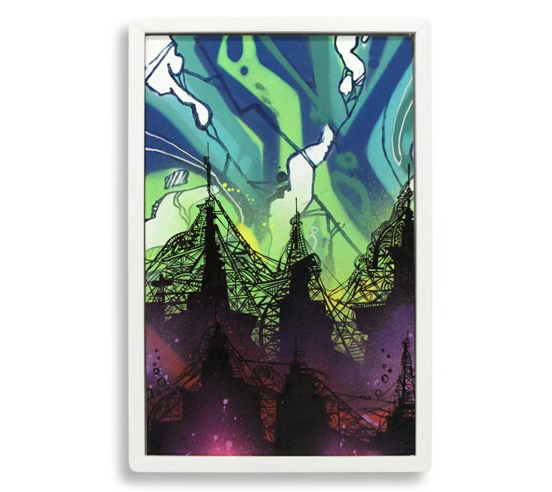 "Fishbowl  Spray Paint & Acrylic on Cradled Wood Panel 14"" x 21"" $300"