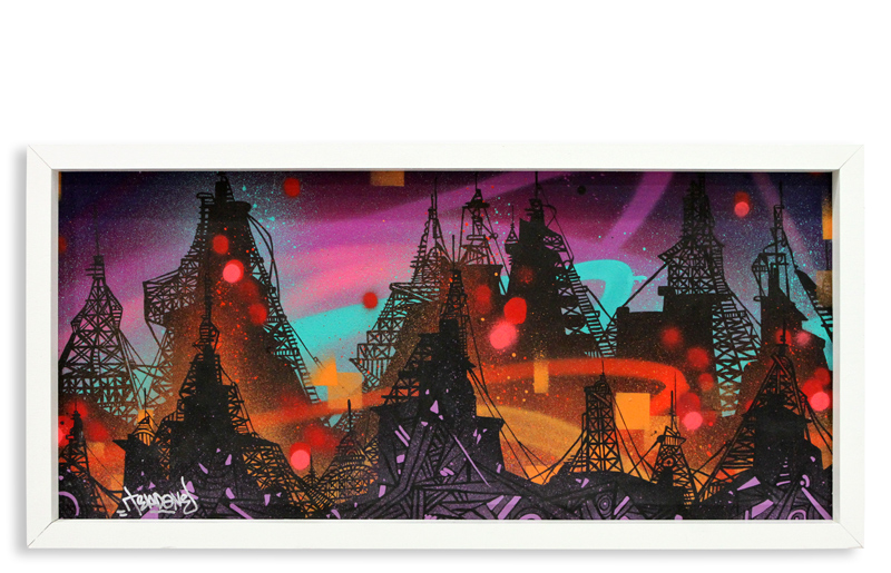 "Acid City Vol. 2 I  Spray Paint & Acrylic on Cradled Wood Panel 11"" 1/2 x 24"" $250  SOLD"