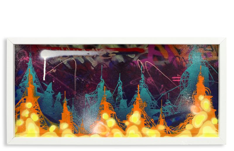 "Acid City Vol. 2 II  Spray Paint & Acrylic on Cradled Wood Panel 11"" 1/2 x 24"" $250"