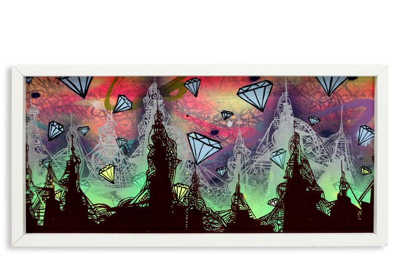 "Acid City Vol. 2 III  Spray Paint & Acrylic on Cradled Wood Panel 11"" 1/2 x 24"" $250  SOLD"
