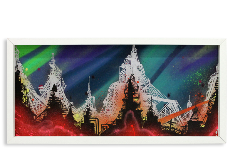 "Acid City Vol. 2 IV  Spray Paint & Acrylic on Cradled Wood Panel 11"" 1/2 x 24"" $250"