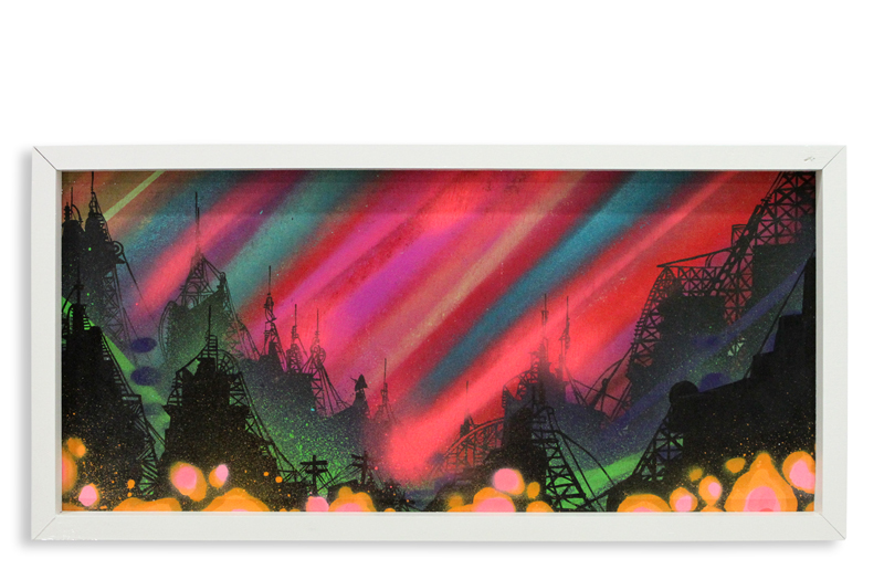 "Acid City Vol. 2 VI  Spray Paint & Acrylic on Cradled Wood Panel 11"" 1/2 x 24"" $250  SOLD"