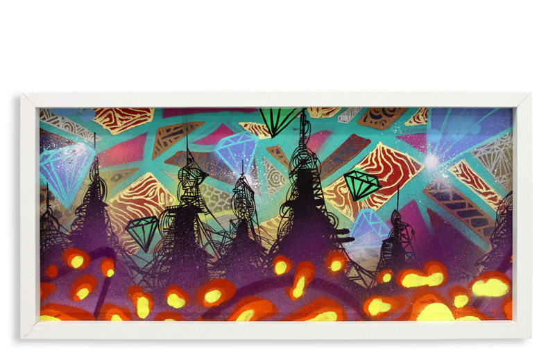 "Acid City Vol. 2 VII  Spray Paint & Acrylic on Cradled Wood Panel 11"" 1/2 x 24"" $250"