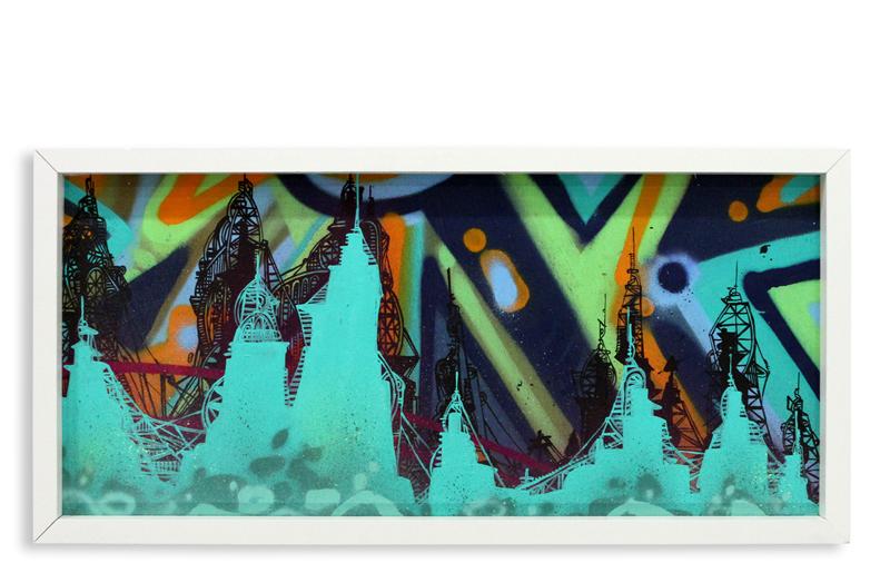"Acid City Vol. 2 VIII  Spray Paint & Acrylic on Cradled Wood Panel 11"" 1/2 x 24"" $250"