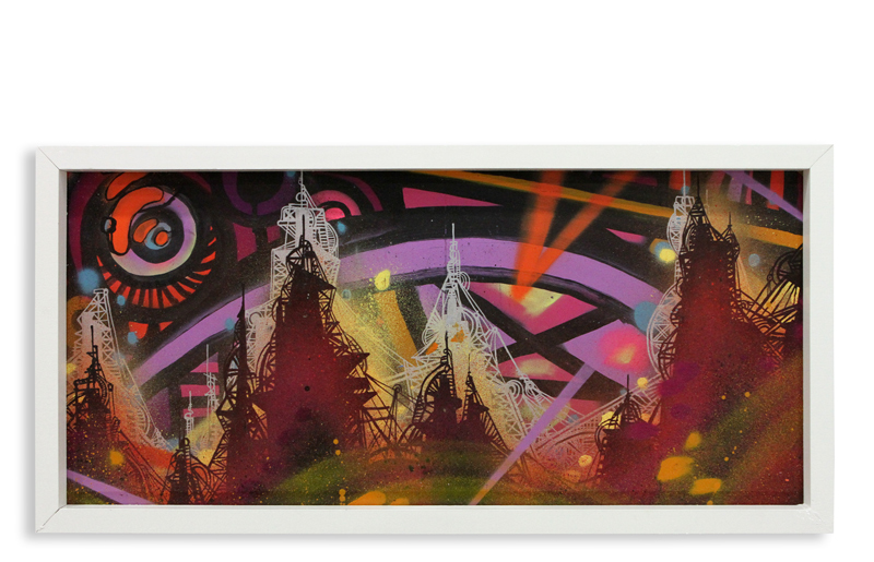 "Acid City Vol. 2 IX  Spray Paint & Acrylic on Cradled Wood Panel 11"" 1/2 x 24"" $250"