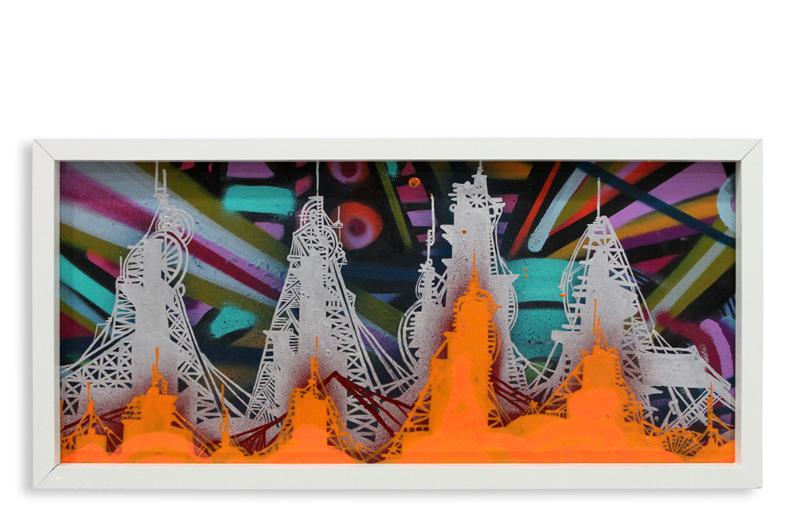"Acid City Vol. 2 X  Spray Paint & Acrylic on Cradled Wood Panel 11"" 1/2 x 24"" $250"