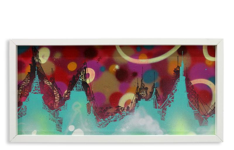 "Acid City Vol. 2 XI  Spray Paint & Acrylic on Cradled Wood Panel 11"" 1/2 x 24"" $250  SOLD"