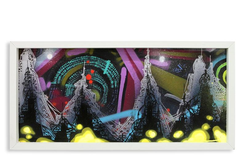 "Acid City Vol. 2 XII  Spray Paint & Acrylic on Cradled Wood Panel 11"" 1/2 x 24"" $250"