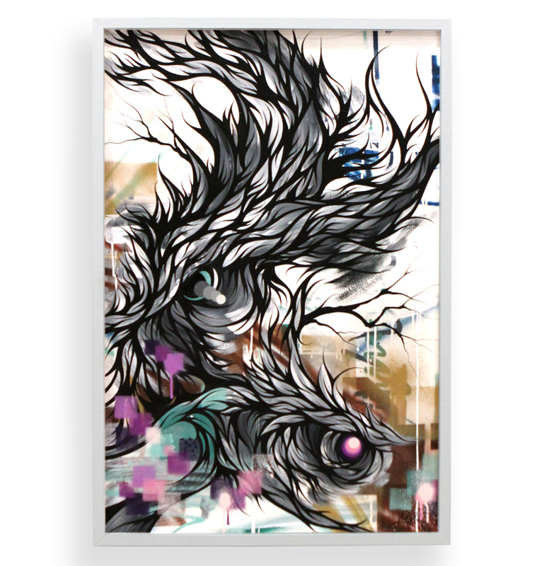 """Tread These Waters Called Waves  Spray Paint & Acrylic on Cradled Wood Panel 25"""" x 37"""" $900"""
