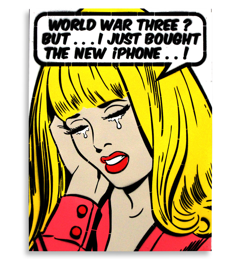 """Ben Frost World War Three?  6 Color Stencil on Board 12"""" x 16""""  SOLD OUT  Edition Size: 20"""