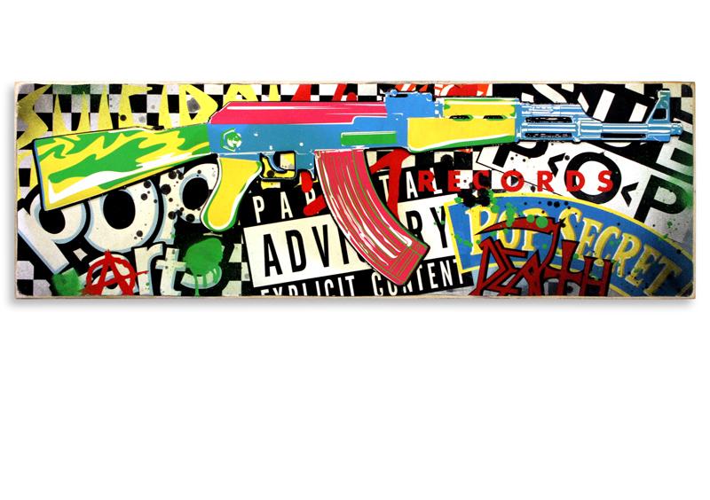 "Denial Pop Art Killer (Black)  Mixed Media on Cradled Wood Panel 36"" x 12"" $600  SOLD"