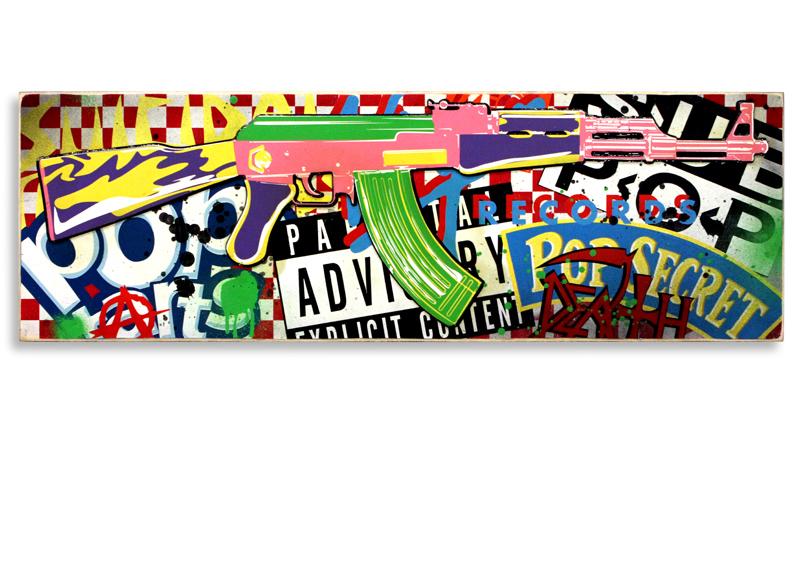 "Denial Pop Art Killer (Red)  Mixed Media on Cradled Wood Panel 36"" x 12"" $600  SOLD"