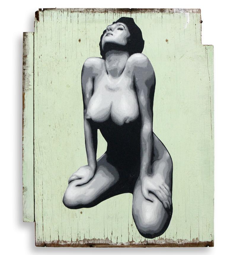 """Ben Frost Requiem  Acrylic on Found Cupboard Door 12"""" 1/2 x 15"""" 1/2 $650  SOLD"""