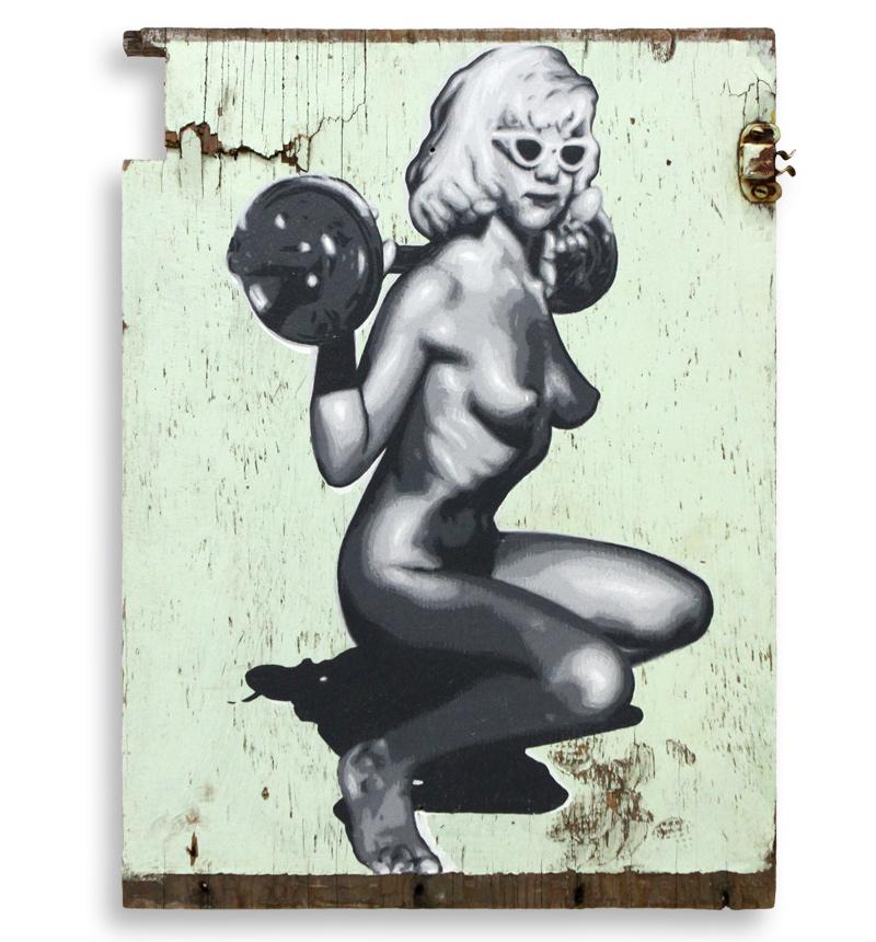 """Ben Frost Dead Weight  Acrylic on Found Cupboard Door 12"""" x 16"""" $650"""