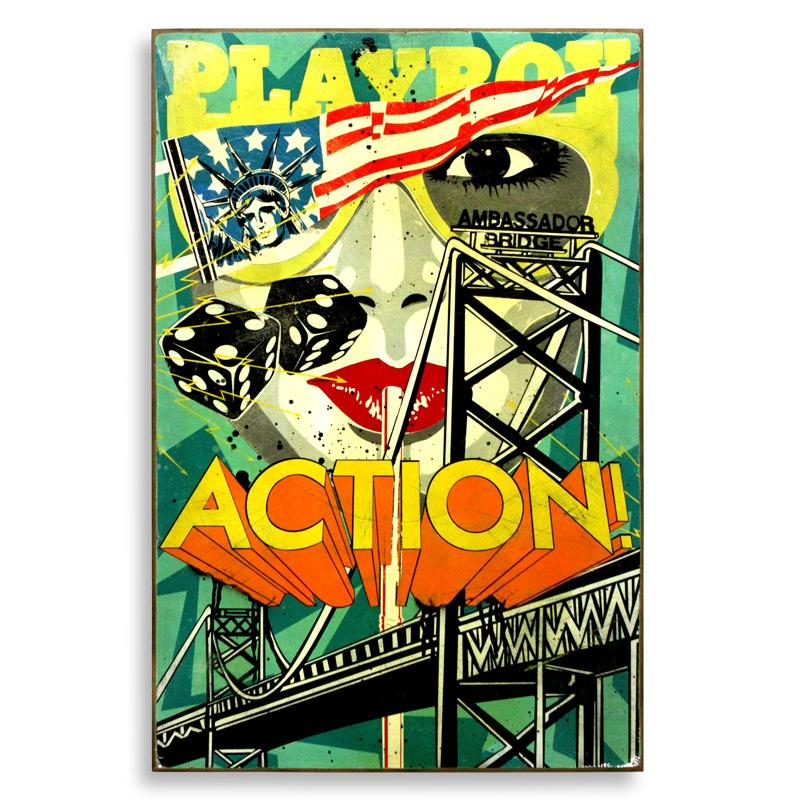 "Denial International Action  Spray Paint on Wood 24"" x 36"" $750"