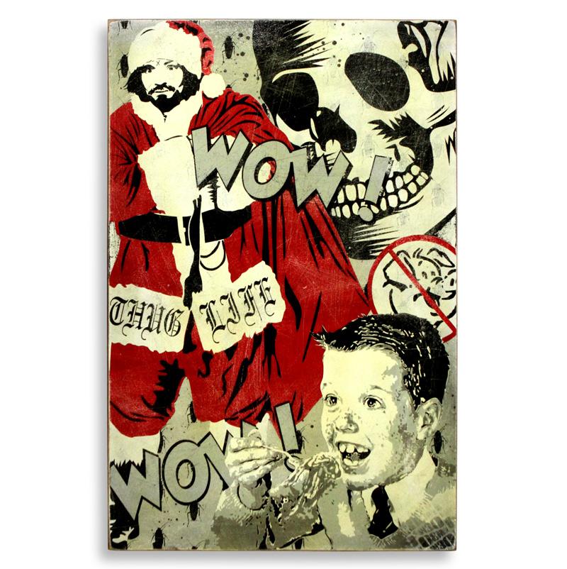 "Denial Xmas  Spray Paint on Wood 24"" x 36""  SOLD"