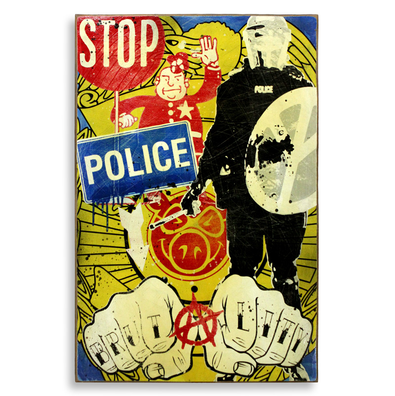 """Denial Stop Police Brutality  Spray Paint on Wood 24"""" x 36""""  SOLD"""