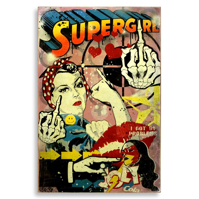 "Denial Supergirls  Spray Paint on Wood 24"" x 36""  SOLD"