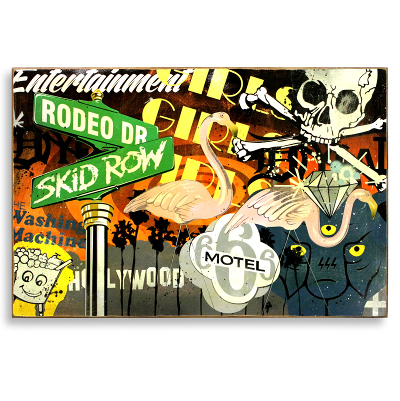 """Denial Lost Angeles  Spray Paint on Wood 36"""" x 24""""  SOLD"""