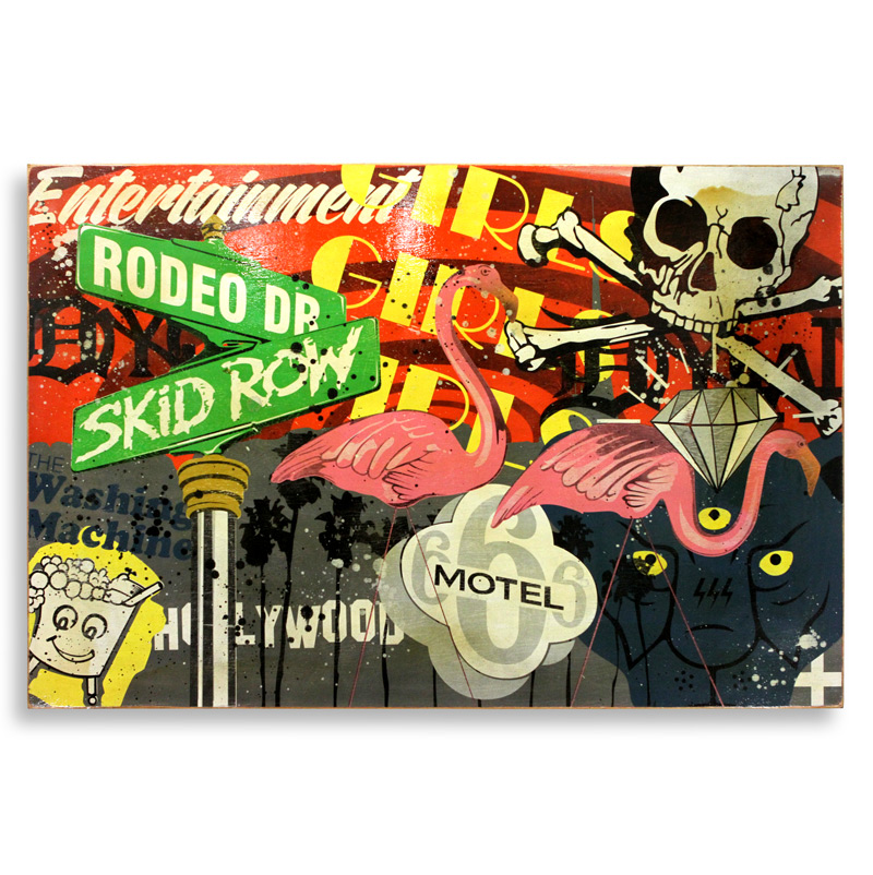 """Denial Lost Angeles  Spray Paint on Wood 72"""" x 48""""  SOLD"""